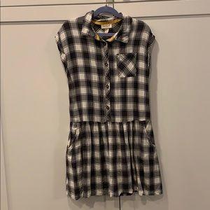 Black & White Plaid Shirtdress